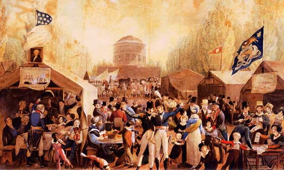 Painting of 1776 July 4th celebration Credit: Fourth of July at Center Square. John Lewis Krimm