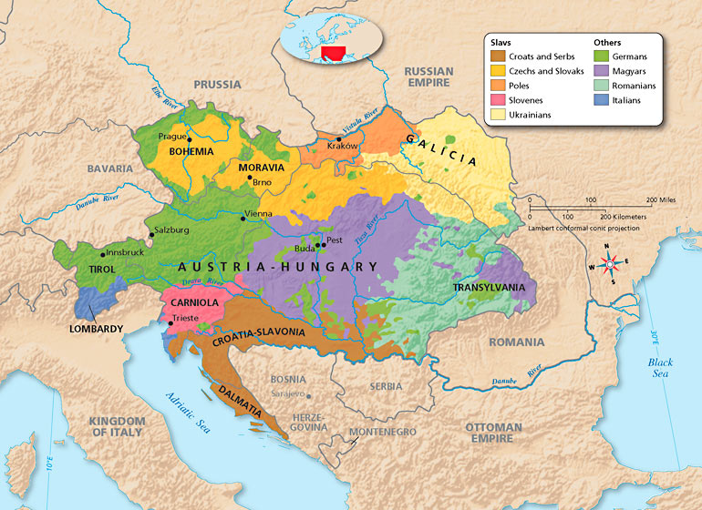Map: Ethic Groups in Austria-Hungary, 1867