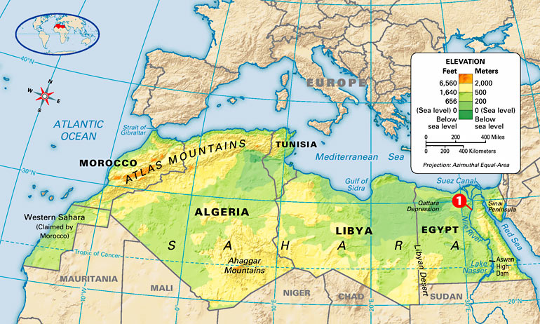 Map: North Africa: Physical