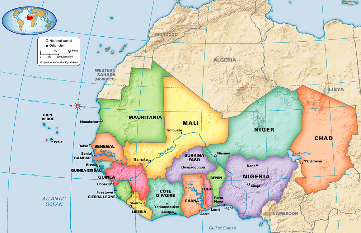 Map: West Africa: Political