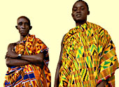 Photograph of West African men in kente cloth Credit: Owen Franken/CORBIS