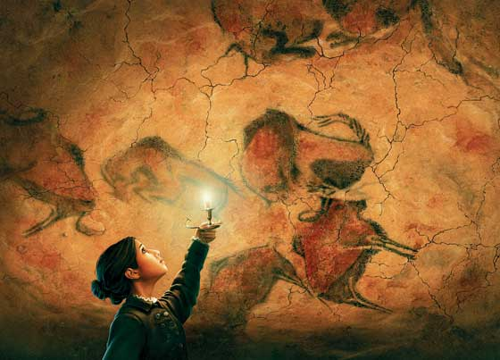 In this illustration, young Maria de Sautuola discovers prehistoric cave paintings in Altamira, Spain, in 1879.